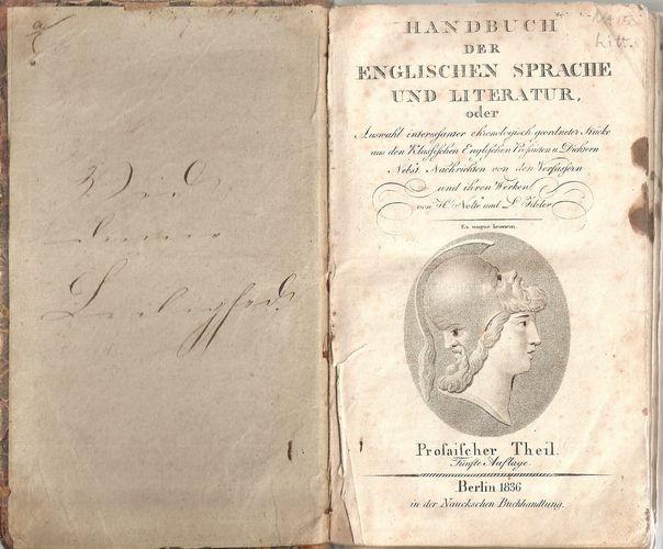 Handbuch der Englischen Sprache und Literatur, oder Auswahl interessanter… Prosaischer Theil. Fünfte Auflage