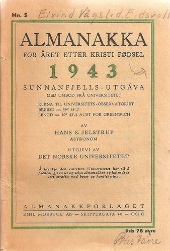 Almanakka for året etter Kristi fødsel 1943. Sunnafjells-utgåva