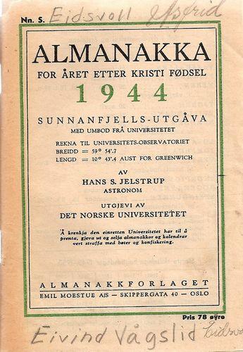 Almanakka for året etter Kristi fødsel 1944. Sunnafjells-utgåva