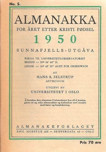 Almanakka for året etter Kristi fødsel 1950. Sunnafjells-utgåva