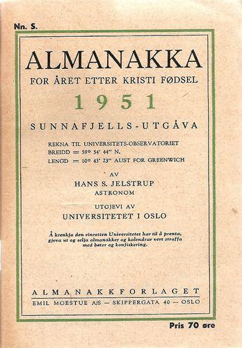 Almanakka for året etter Kristi fødsel 1951. Sunnafjells-utgåva