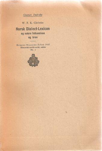 W.F.K. Christie: Norsk Dialect-Lexicon og nokre folkeminne og brev