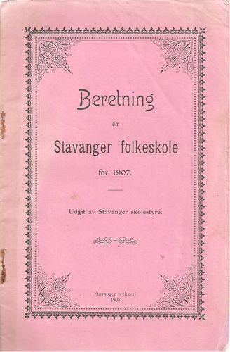 Beretning om Stavanger folkeskole for 1907