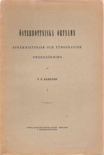 Österbottniska ortnamn. Språkhistorisk och etnografisk undersökning