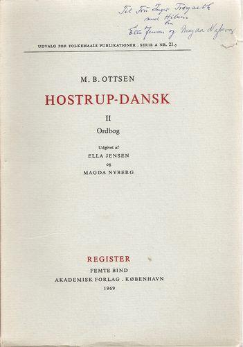 Hostrup-dansk. II. Ordbog. Register. Femte bind