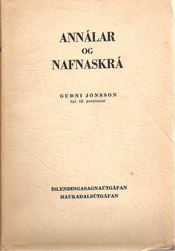 Annálar og Nafnskrá