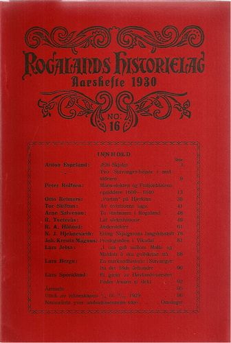 Aarshefte 1930. No: 16