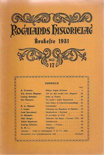 Aarshefte 1931. No: 17