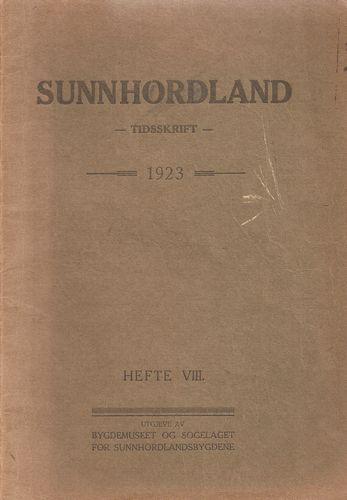 Sunnhordland. Tidsskrift. 1923. Hefte VIII. Sydnes, Kristofer (skriftstyrar)