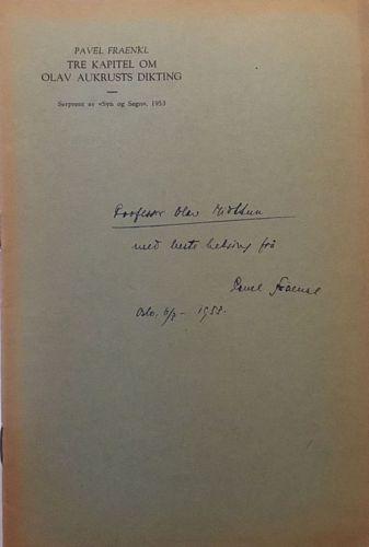 Tre kapittel om Olav Aukrusts dikting (Til minne om 21. januar 1883).