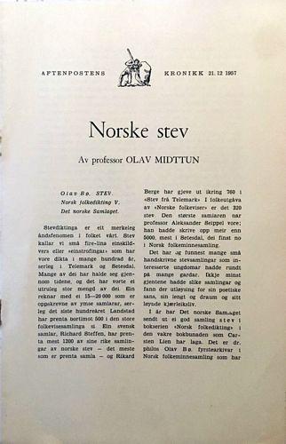Norske stev. Av professor Olav Midttun