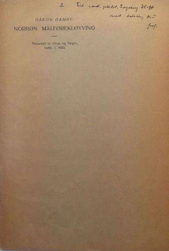 """Norrøn målførekløyving. Serprent or """"Syn og Segn"""", hefte 2, 1945"""
