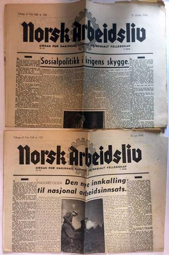 Organ for nasjonalt samhold og sosialt felleskap. Nr. 21, 10. Juni 1944 (Tillegg til Fritt Folk nr. 132). Nr. 39, 21. oktobe 1944 (Tillegg til Fritt Folk nr. 246)
