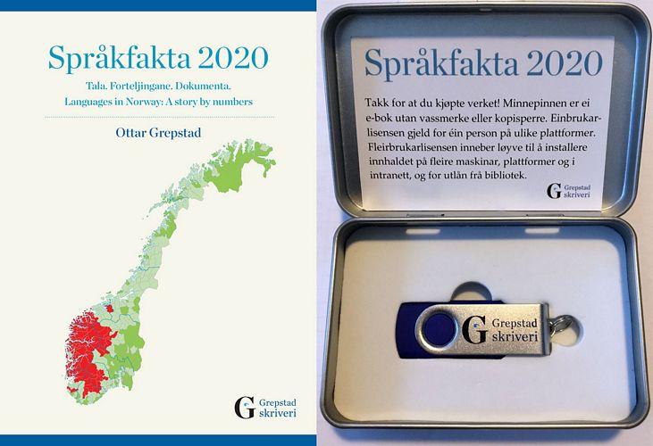Språkfakta 2020. Tala. Forteljingane. Dokumenta. Languages in Norway: A story by numbers. Bok og e-bok med tabellar, einbrukar