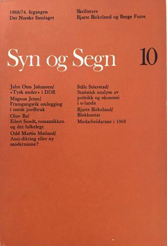 Syn og Segn, hefte nr: 10, 1968