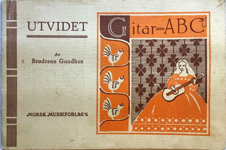 Brødrene Gundhus. Gitar-ABC. De mest brukte grepene - i samtlige tonearter - med nødvendig forklaring og 15 kjente sanger med gitarakkorder påført tekstene samt tegn for anslaget